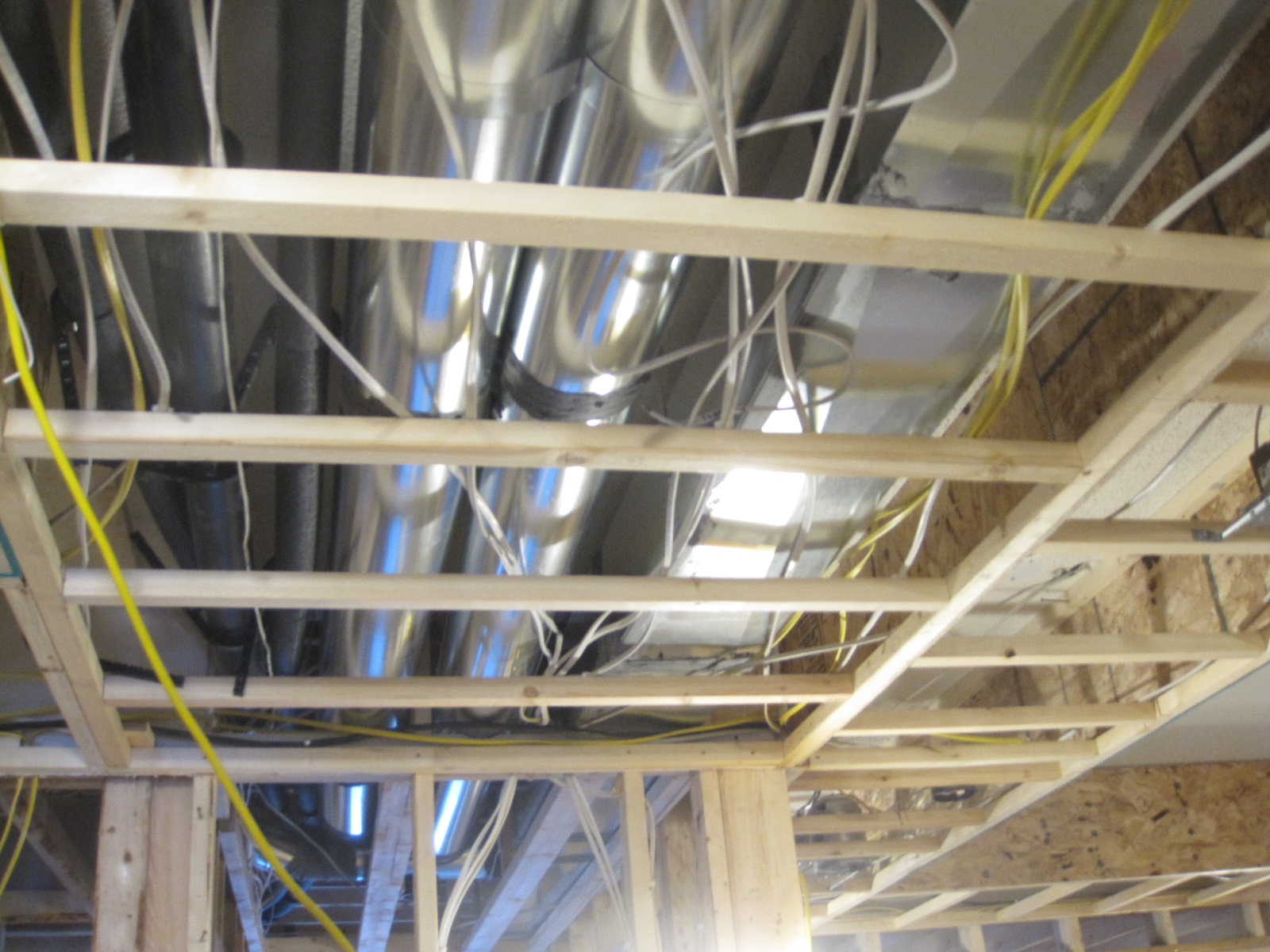 Interior ceiling: ducts and wiring hidden by ceiling soffits