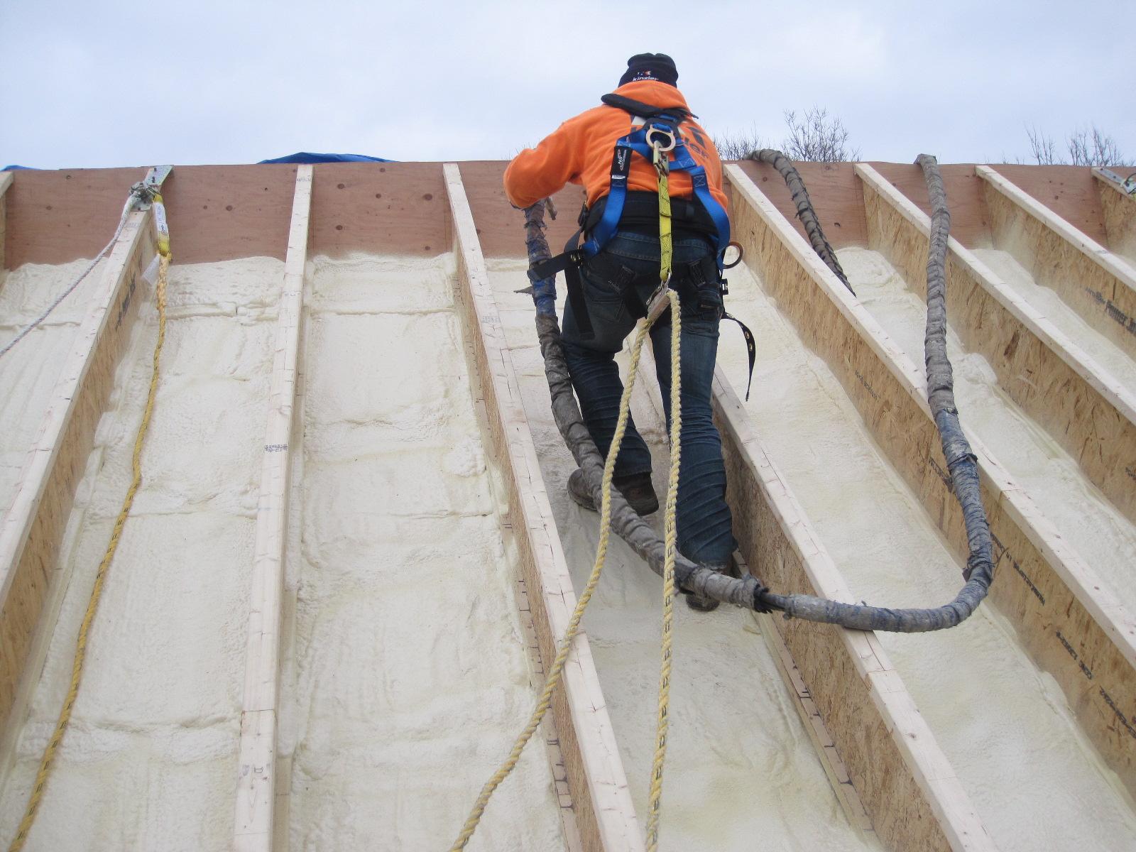 """Roofing 2: 10"""" foam applied between OSB 'girders'"""