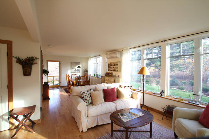 Living Spaces on South with ample glazing