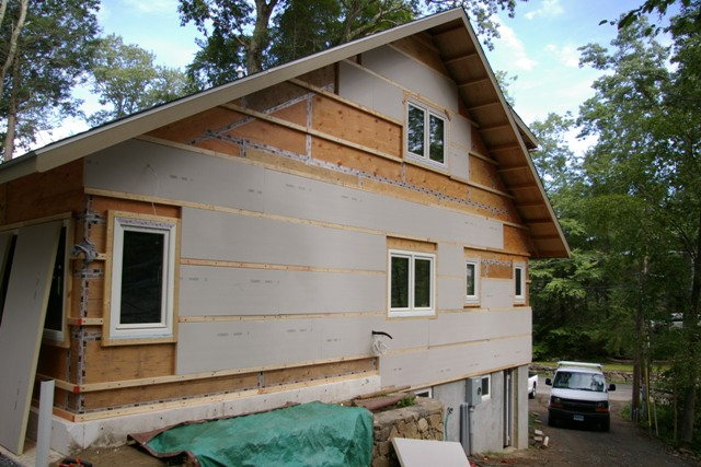 First layer of exterior wall insulation