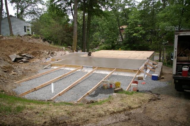 Concrete slab on grade portion of home