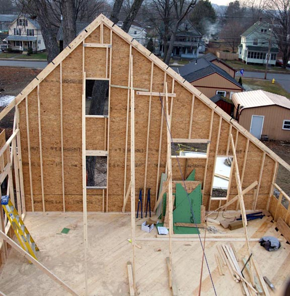 Second floor gable wall framing - west