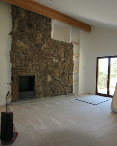 Finished master bedroom with alcohol fireplace