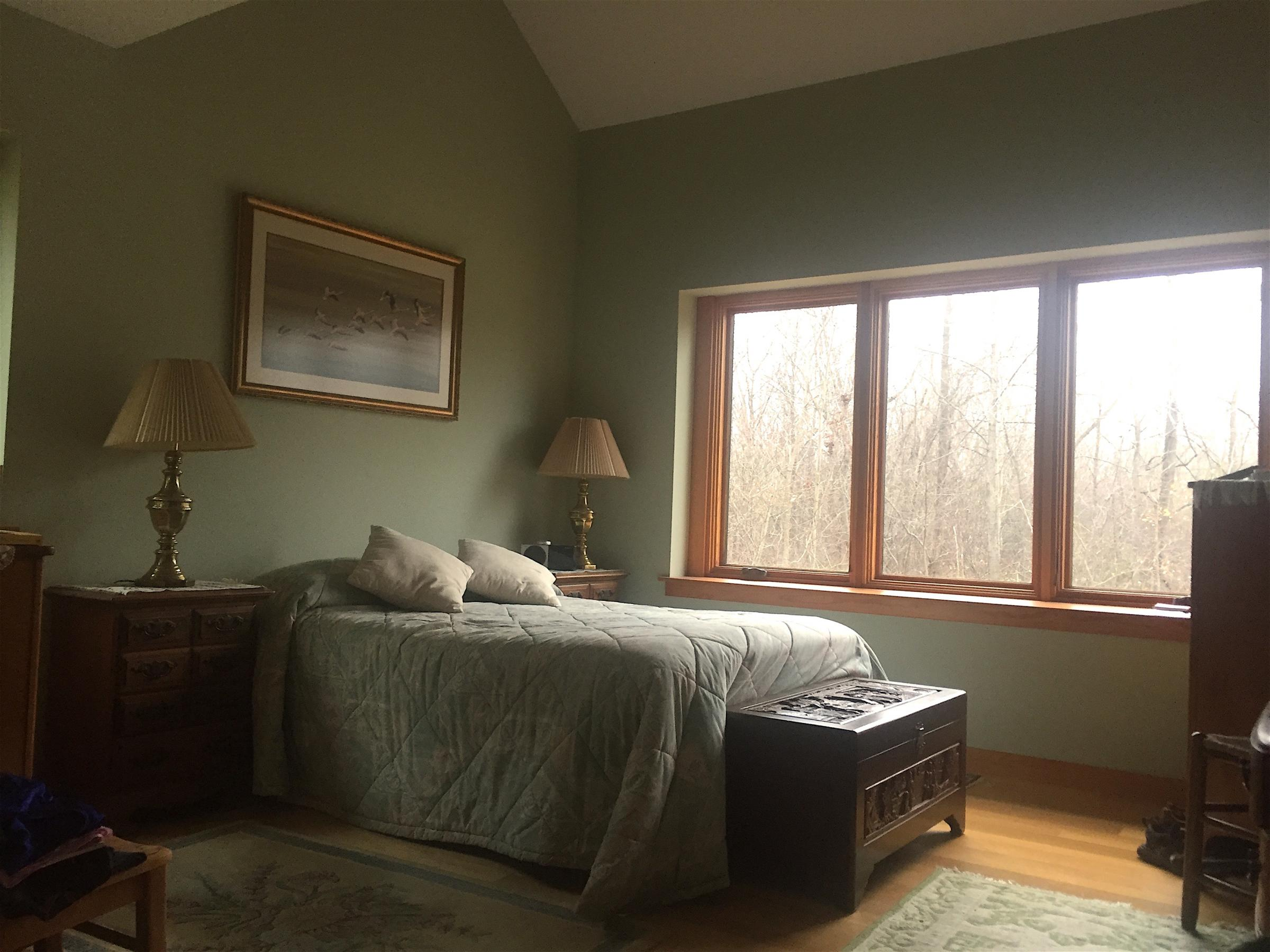 Trail Magic master bedroom; a posistive energy home in Oberlin OH.