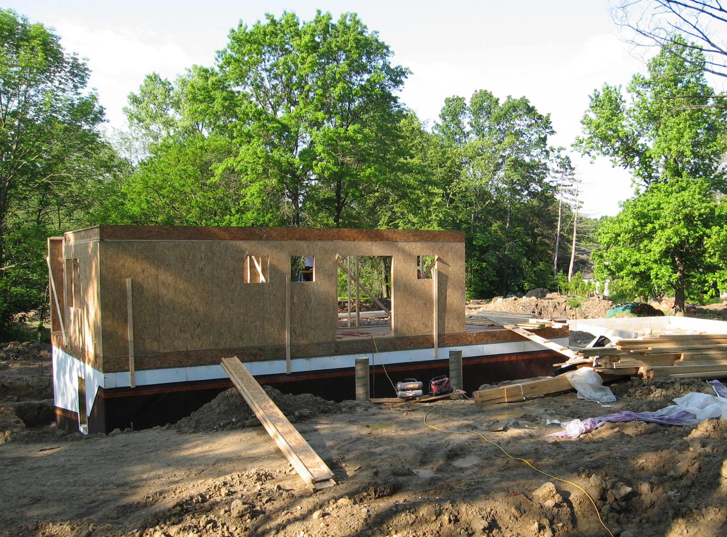 Trail Magic framing first floor; a positive energy home in Oberlin OH
