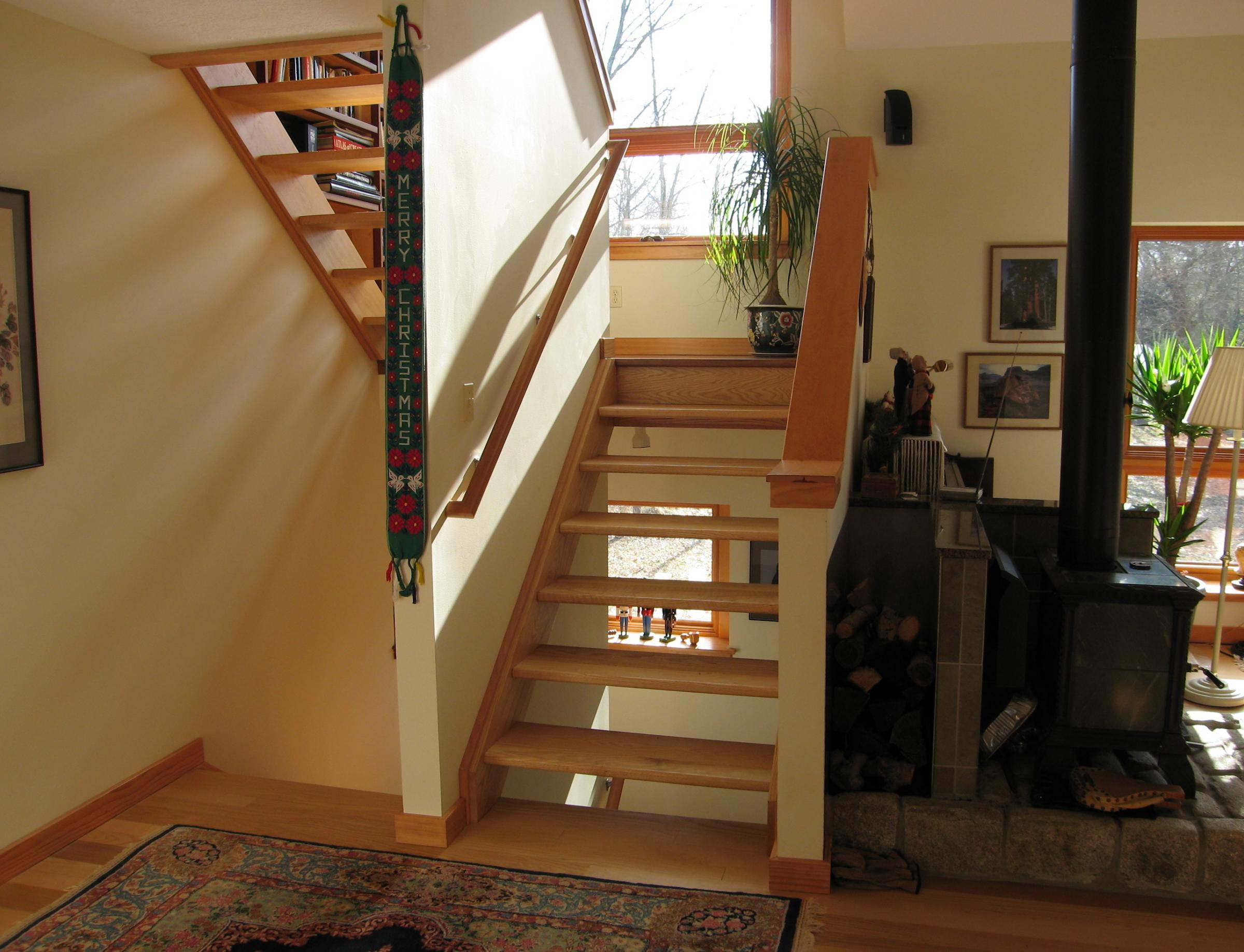 Trail Magic open riser stairway to study; a energy positive energy home in Oberlin OH.