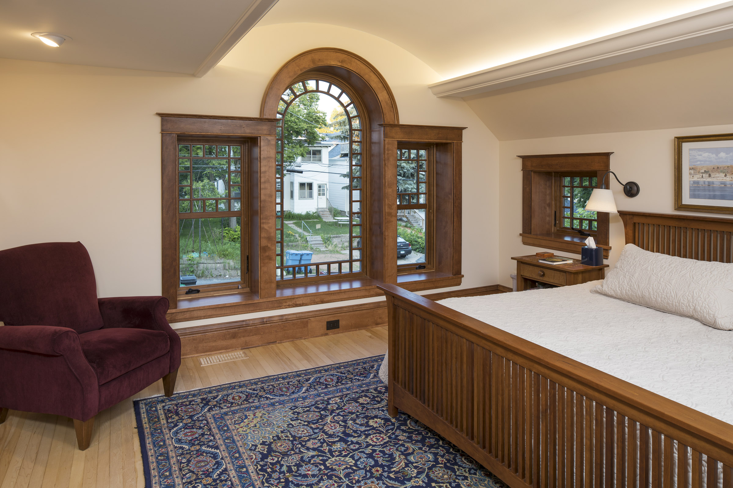 Master bedroom with barrel vault
