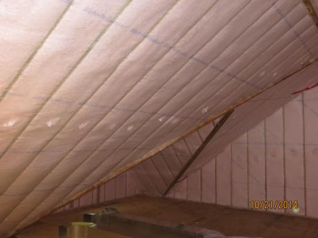 Blown in Batt Insulation at ceiling