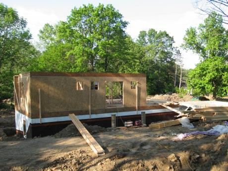 Trail Magic, framing first floor; a positive energy home in Oberlin, OH