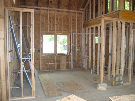 Train Magic, exterior double 2 x 4 wall in kitchen; a positive energy home in Oberlin, OH