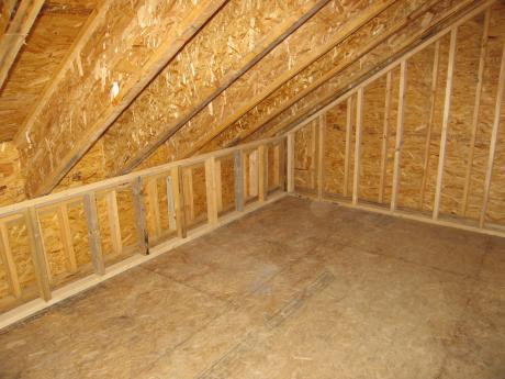 Trail Magic, exterior double 2 x 4wall and roof rafters in loft; a postive energy home in Oberlin, OH