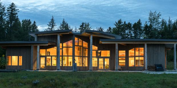 Exterior shot of the Burr and Burton Academy Mountain Campus At Night