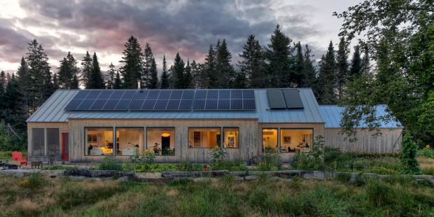 Exterior Shot of Lancaster Passive House at Night