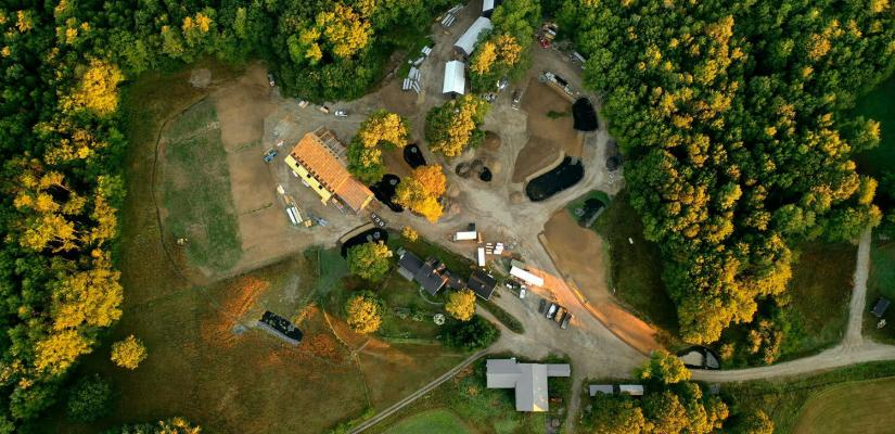 Aerial shot of the Ecology School campus