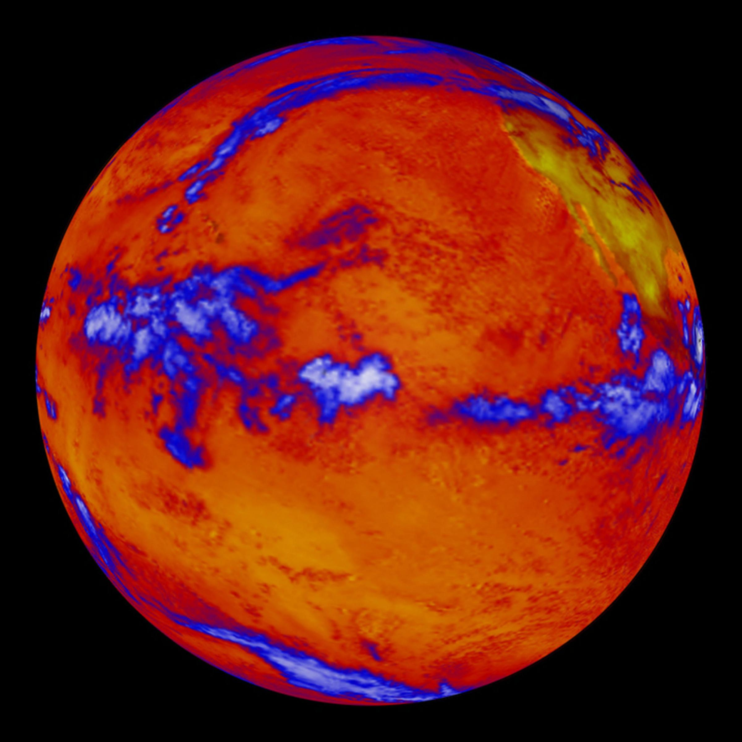 This false color image of the Earth is produced by the Clouds and the Earth's Radiant Energy System (CERES) instrument flying aboard NASA's Terra spacecraft. The image shows where more or less heat, in the form of long-wave radiation, is emanating from the top of the Earth's atmosphere.